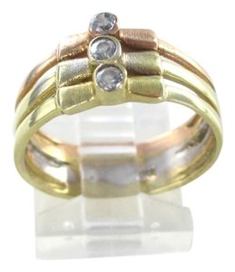 14K ROSE & YELLOW GOLD RING WEDDING BAND ENGAGEMENT SIZE 7.5 WEDDING BAND JEWEL