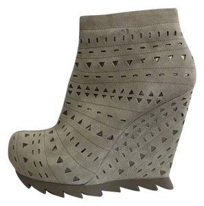 Camilla Skovgaard Cutout Wedge Gray Suede Metallic Boots