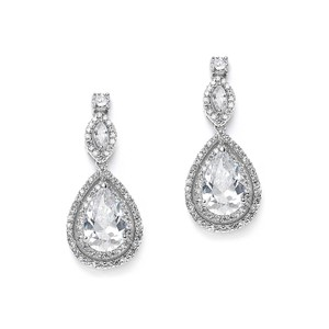 Silver/Rhodium Hollywood Glam Double Pave Crystal Drop Earrings