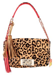 Carolina Herrera Calf Hair Tassel Brown Shoulder Bag