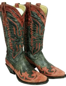Corral Boots Antique Black/Red Eagle Outlay Snip Toe Boots
