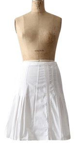 Piazza Sempione Stretch Cotton Pleated Skirt White