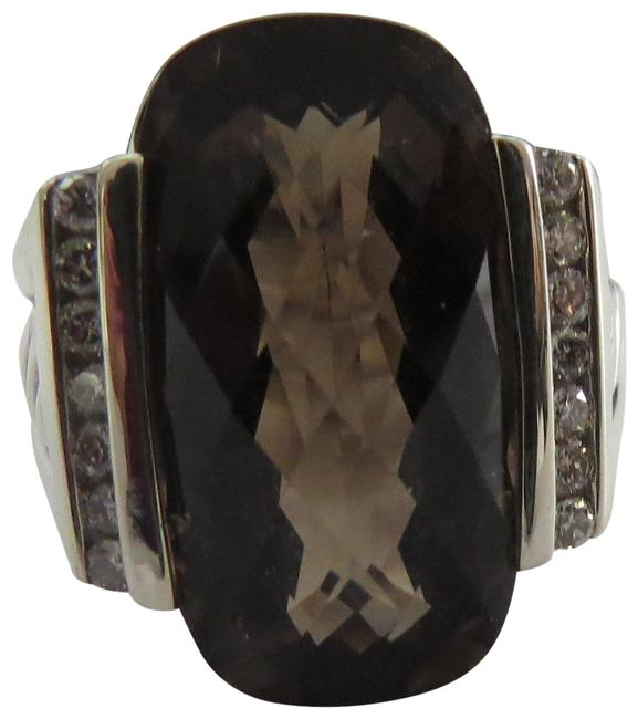 Item - Brown Refurbished By Dy - Albion Collection Deco Elong Smokey Quartz/Diamond Ring