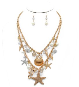 Other Sealife Starfish Pearl Beads Charms Necklace and Earrings