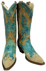 Corral Boots Antique Saddle/Turquiose Eagle Outlay Snip Toe Boots