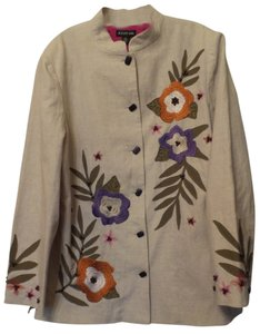 August Max Woman Linen Applique 2x 3x New W/ Tags Heavy Embroidery Natural + Green, Orange, Purple, Pink Jacket