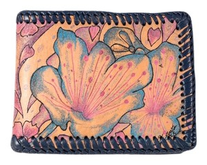Custom Floral Leather Wallet With Leather Woven Trim