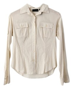 DKNY Semi-sheer Cotton Button Down Shirt Cream