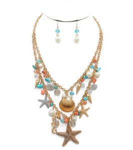Other Sealife Starfish Multicolor Charms Necklace and Earrings