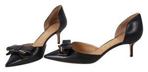 Salvatore Ferragamo Pointed Toe Mid Heel Gold Black Pumps
