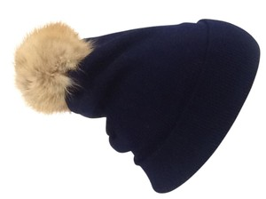 Winter Acrylic Navy Blue Beanie Hat With Natural Sable Fur Pom Pom One Size Fits All