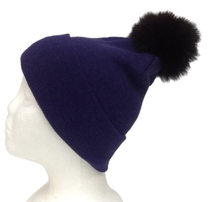 Other Winter Acrylic Purple Beanie Hat With Natural Fox Fur Pom Pom One Size Fits All