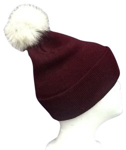 Other Winter Acrylic Wine Color Beanie Hat With Natural Blue Fox Fur Pom Pom One Size Fits All