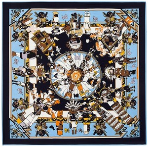 Other Large Square Silk Scarf Twill, Sky Blue Navy Blue Hobbit Fairy Tale Scarf, Digitally Painted w Hand Rolled Hem, 40