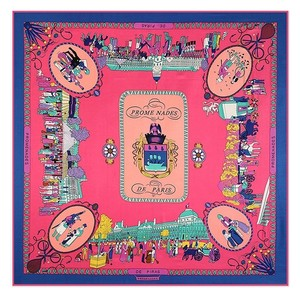 Extra Large Square Silk Twill Scarf - Pink Cobalt Blue Tennis Racket Athletes Wander in Paris 52