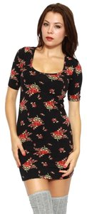 OBEY short dress Black Bodycon Floral Cut-out on Tradesy