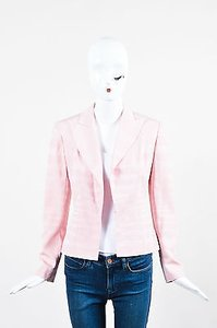 Dior Christian Dior Light Pink Silk Wool Striped Hook Eye Blazer Jacket