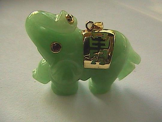 Other 10k Solid Yellow Gold Apple Green Jade and Ruby Pendant