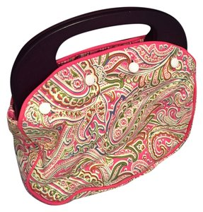Braciano Wooden Handle Cover Bermuda Wood with Reversible Pink Pattern Clutch