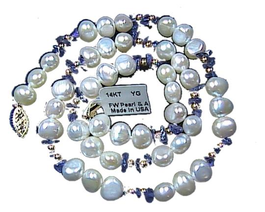 Other 14k Solid Yellow Gold Fresh Water Pearl & Amethyst Bead Necklace