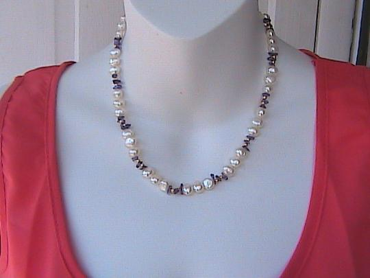 Other 14k Solid Yellow Gold Fresh Water Pearl & Amethyst Bead Necklace Image 1