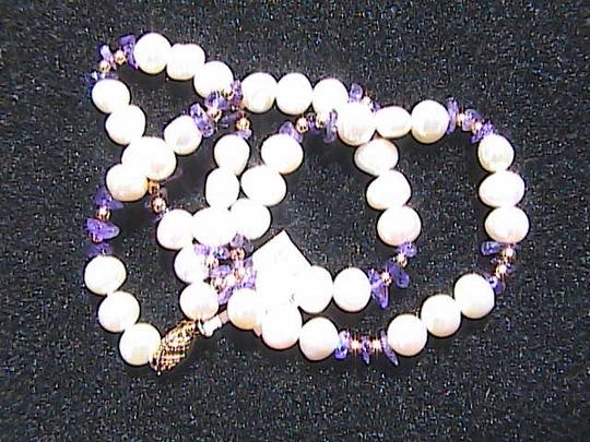 Other 14k Solid Yellow Gold Fresh Water Pearl & Amethyst Bead Necklace Image 2