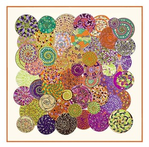 Other Extra Large Square Silk Twill Scarf Beige Multi Orange Circle Snail Universe Sky Geometric 52