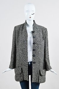 Sonia Rykiel Black White Boucle Long Sleeve Round Neck Coat Gray Jacket