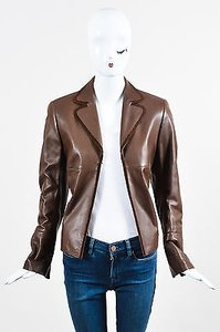 Akris Leather Blazer Brown Jacket