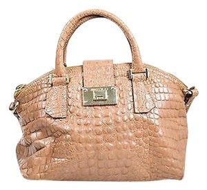 Jimmy Choo Leather Crocodile Embossed Rosa Convertible Satchel in tan