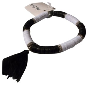 Other Black & White Boho Tassel Stretch Bracelet