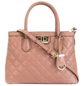 Michael Kors Mk Hannah Large Quilted Smooth Leather Satchel in Dusty Rose