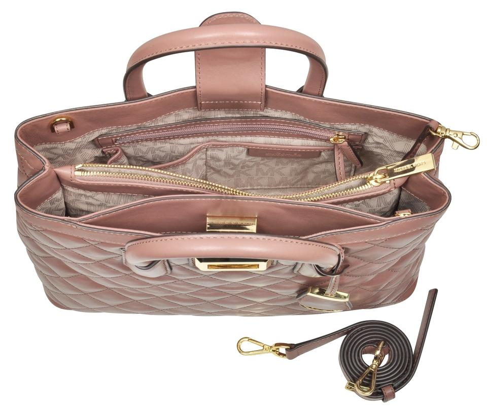 7056027de98395 Michael Kors Hannah Large Quilted Leather Crossbody 889154506763 Satchel in Dusty  Rose Image 3. 1234