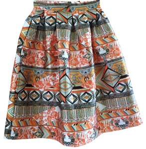 Beulah A Line Orange Multi Skirt Multi-orange
