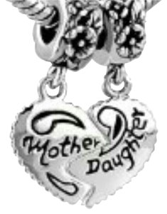 9.2.5 set loose bead heart break split mother daughter charm wedding bridal mom pendant necklace 925