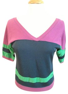 Marc by Marc Jacobs V V-neck Retro Color-blocking T Shirt Purple, Navy, Green