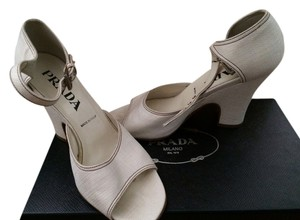 Prada Fabric Vintage-look Off-white Sandals