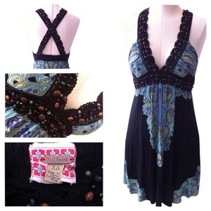 Free People short dress Blue, black, multi on Tradesy