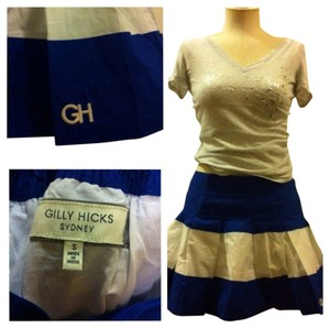 Gilly Hicks Mini Skirt Blue & White Stripe