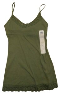 SO Camisole Lace Built In Bra Layering Ribbed Top Clover Green