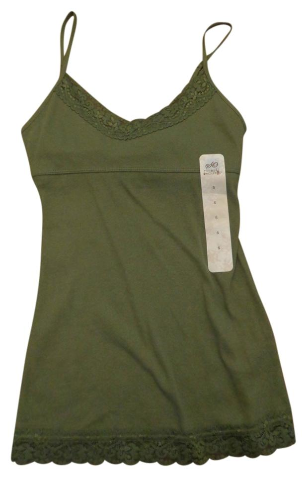 f141ceee7e7bd1 SO Camisole Lace Built In Bra Layering Ribbed Top Clover Green Image 0 ...