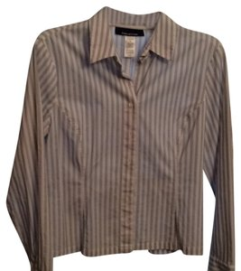 Jones New York Button Down Shirt White with blue and black stripes