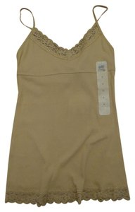 SO Camisole Lace Shelf Bra Ribbed Top Tan