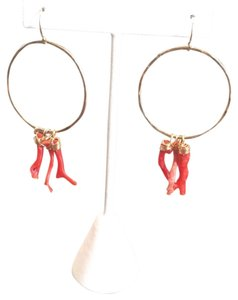 Lotus Jewelry Gold Hoops With red Coral