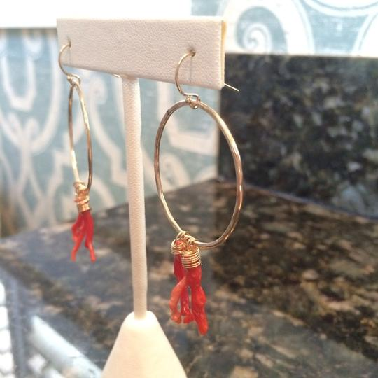 Lotus Jewelry Gold Hoops With red Coral Image 1