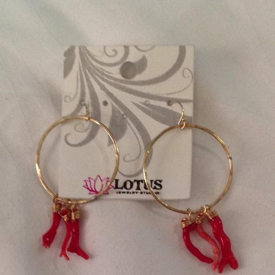 Lotus Jewelry Gold Hoops With red Coral Image 2