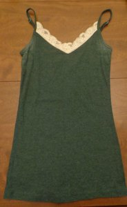 Old Navy Lace Ribbed Top Green