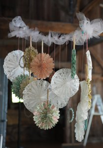 BHLDN Pastels and Whites Fans Reception Decoration