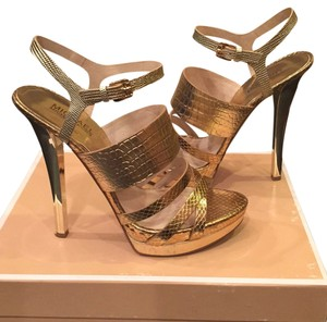 MICHAEL Michael Kors Nadja Sandals Pale Gold Platforms