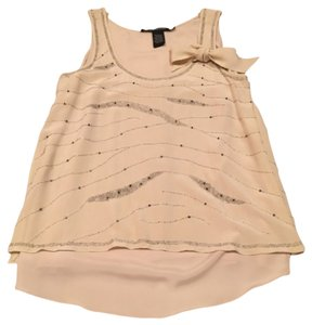 Quotation Date Night Beaded Sparkle Silk Flowy Feminine Chic Contemporary Glamorous Top Cream